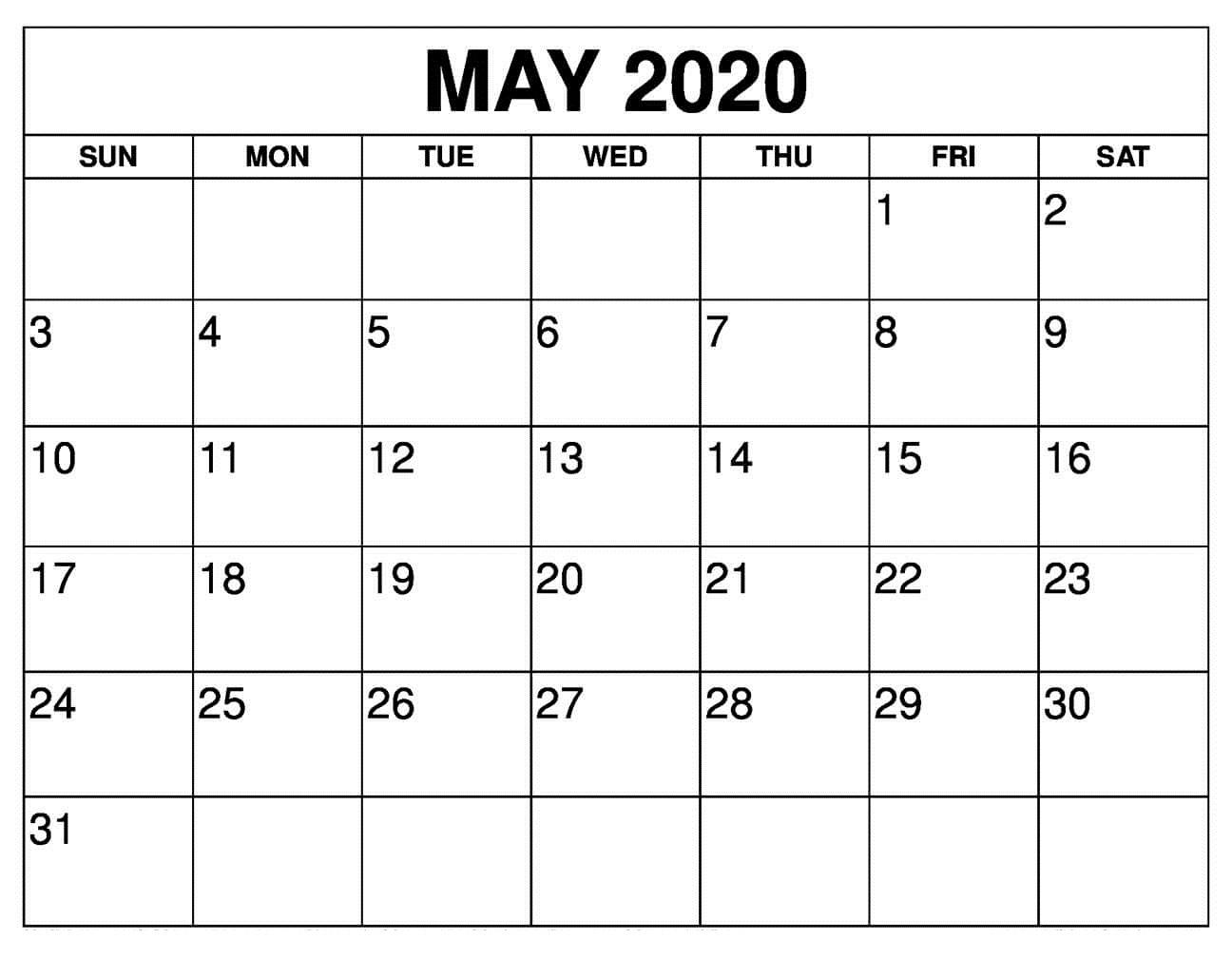 Wallpaper May 2020 Calendar