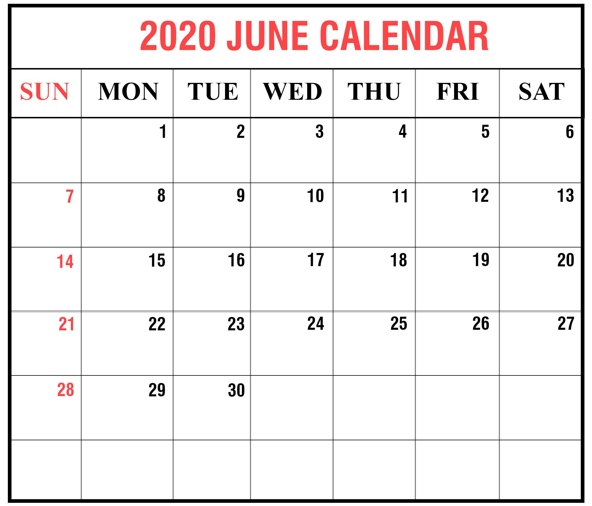 2020 June Calendar Excel
