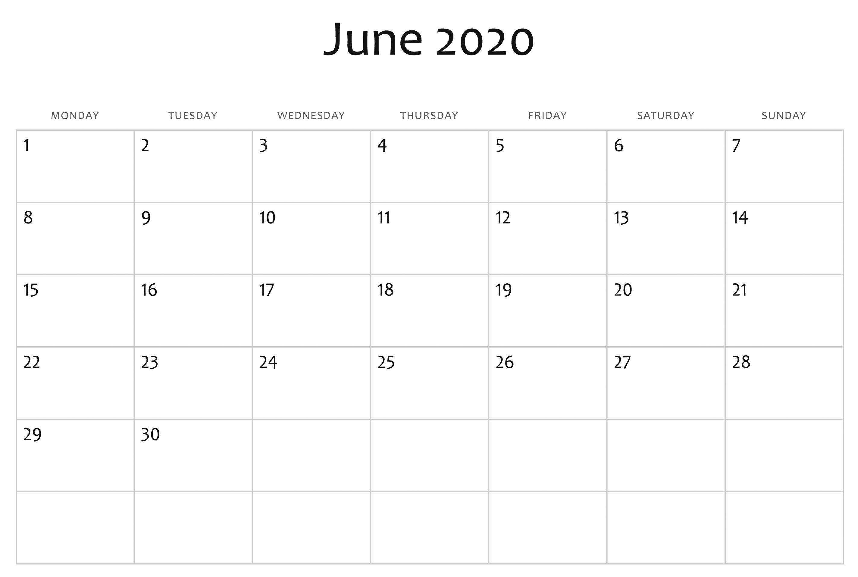 Blank June 2020 Calendar Excel