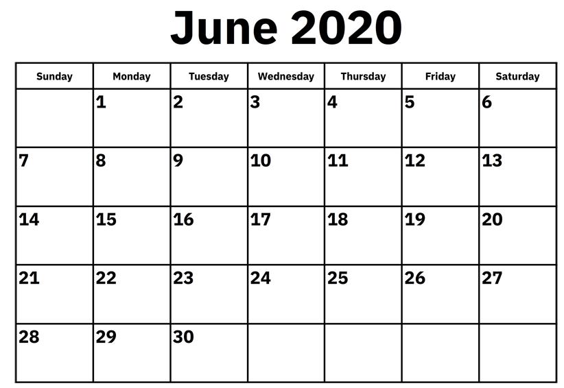 Blank June 2020 Calendar For Kids
