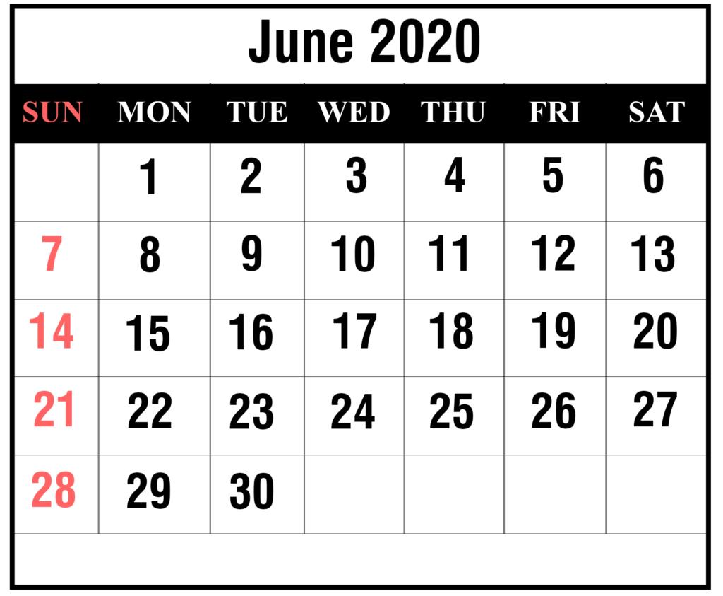 Blank June 2020 Calendar Free