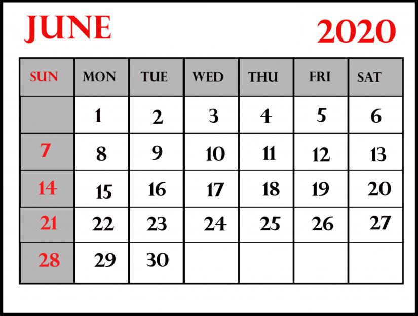 Blank June 2020 Calendar Planner
