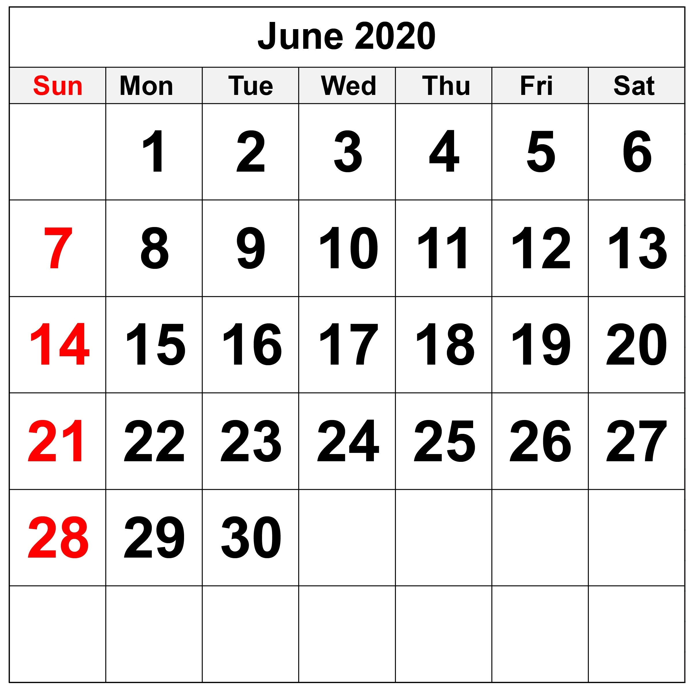 Blank June 2020 Calendar With Notes