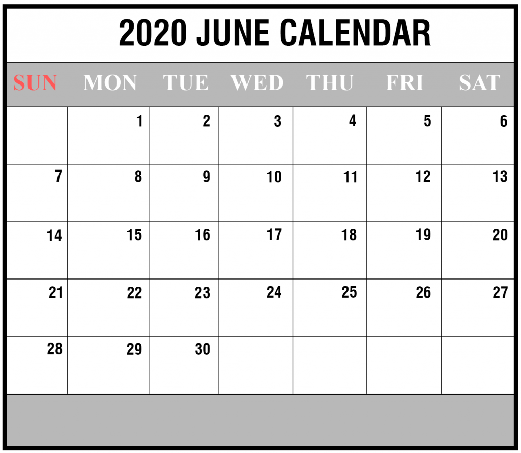 Calendar 2020 June Excel