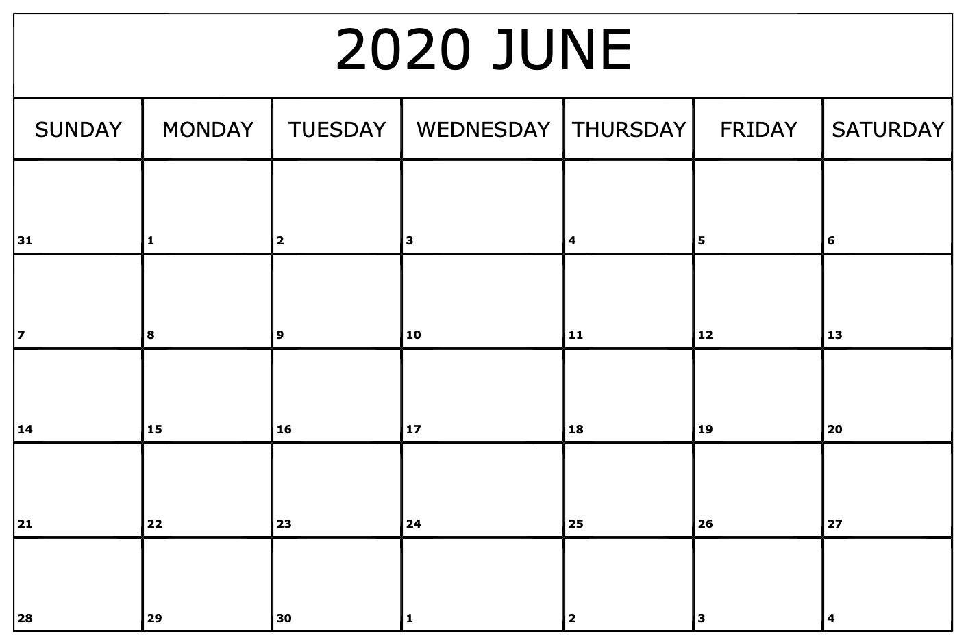 Calendar June 2020 Monthly