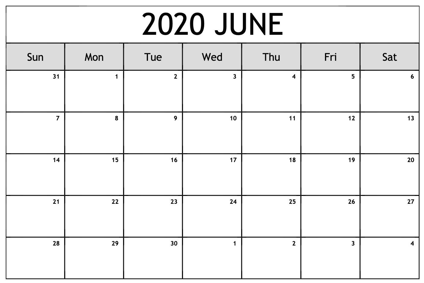 Excel June 2020 Calendar