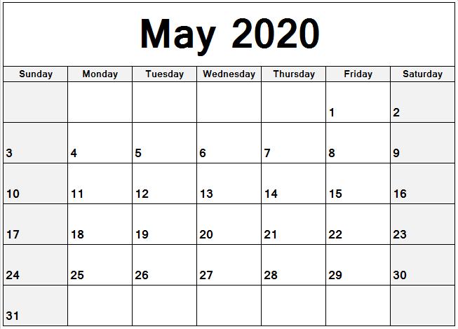 Excel May 2020 Calendar