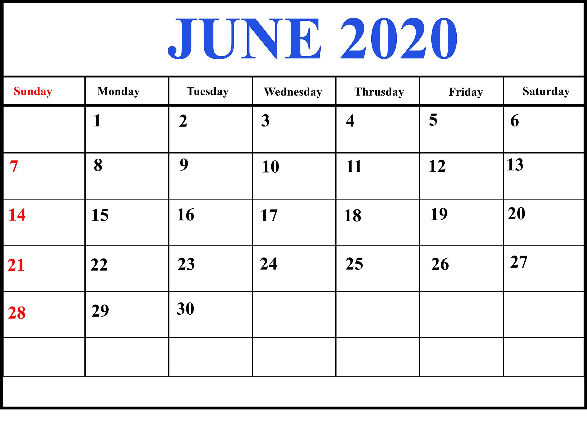 Free June 2020 Calendar Excel