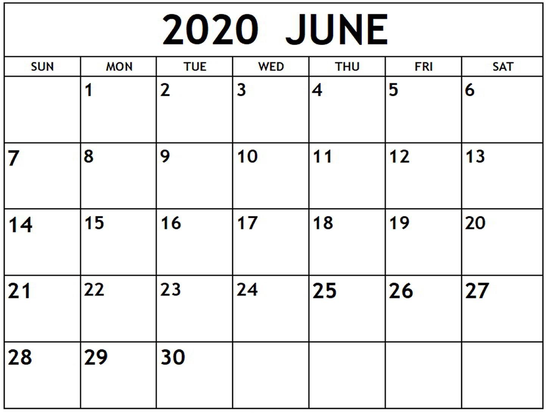 Free June 2020 Calendar PDF