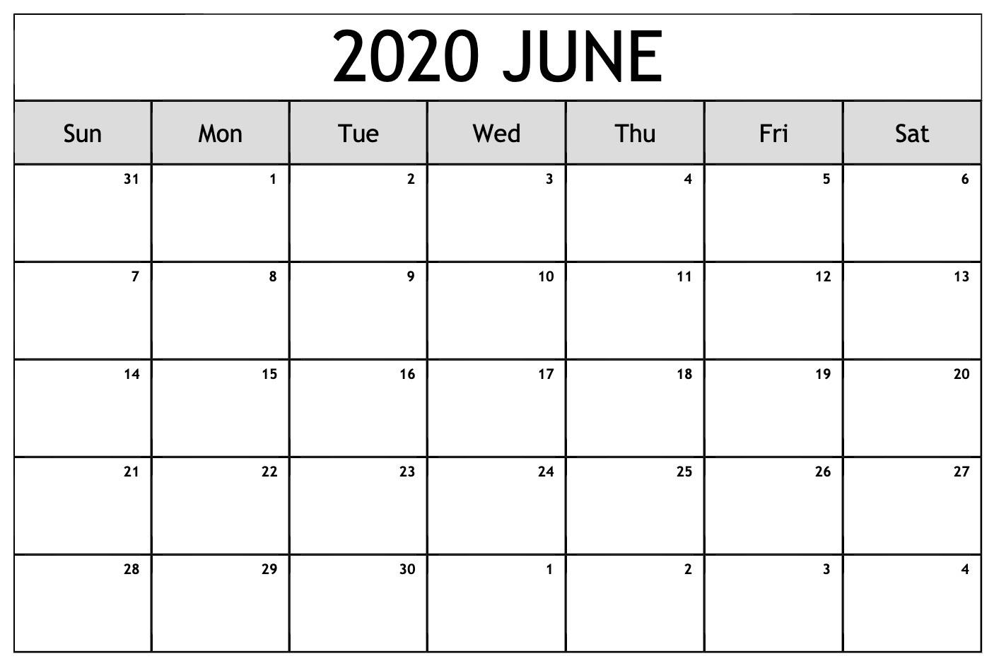 June 2020 Calendar Blank PDF