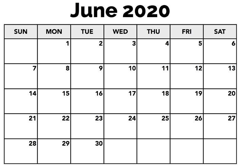 June 2020 Calendar Blank