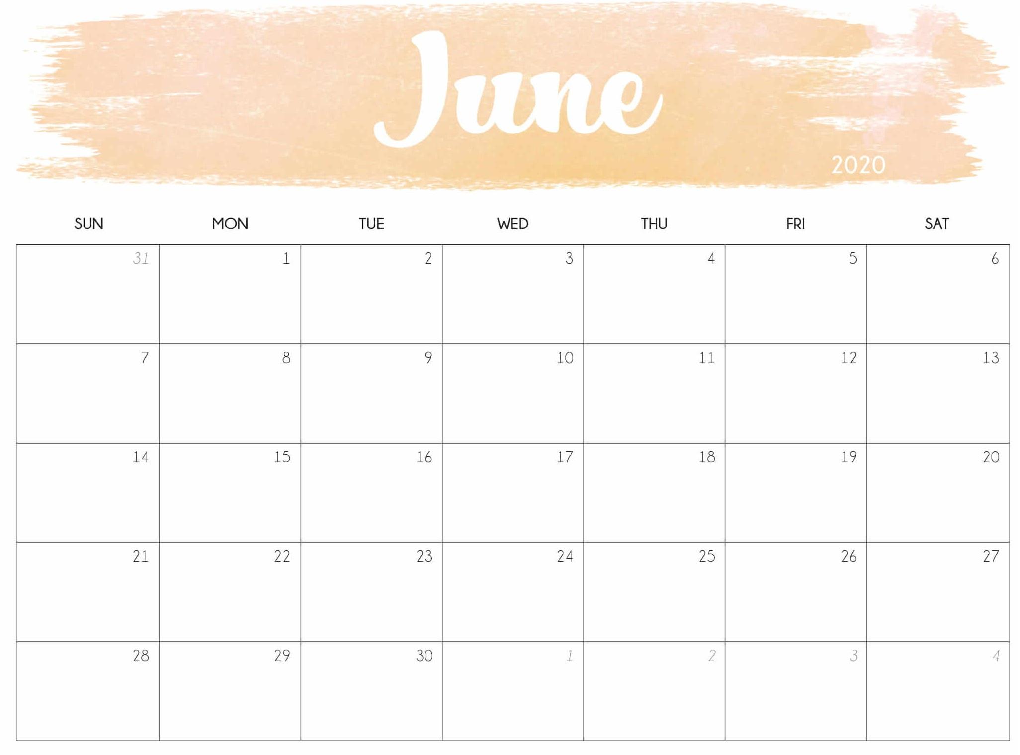 June 2020 Calendar Monthly