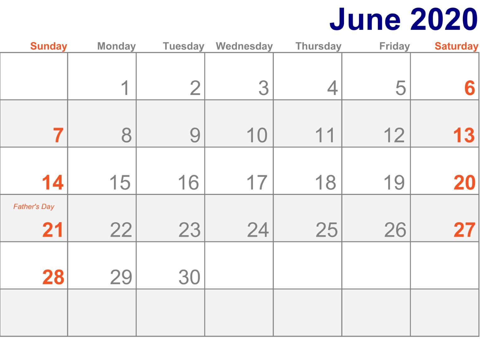 June 2020 Calendar Printable With Holidays