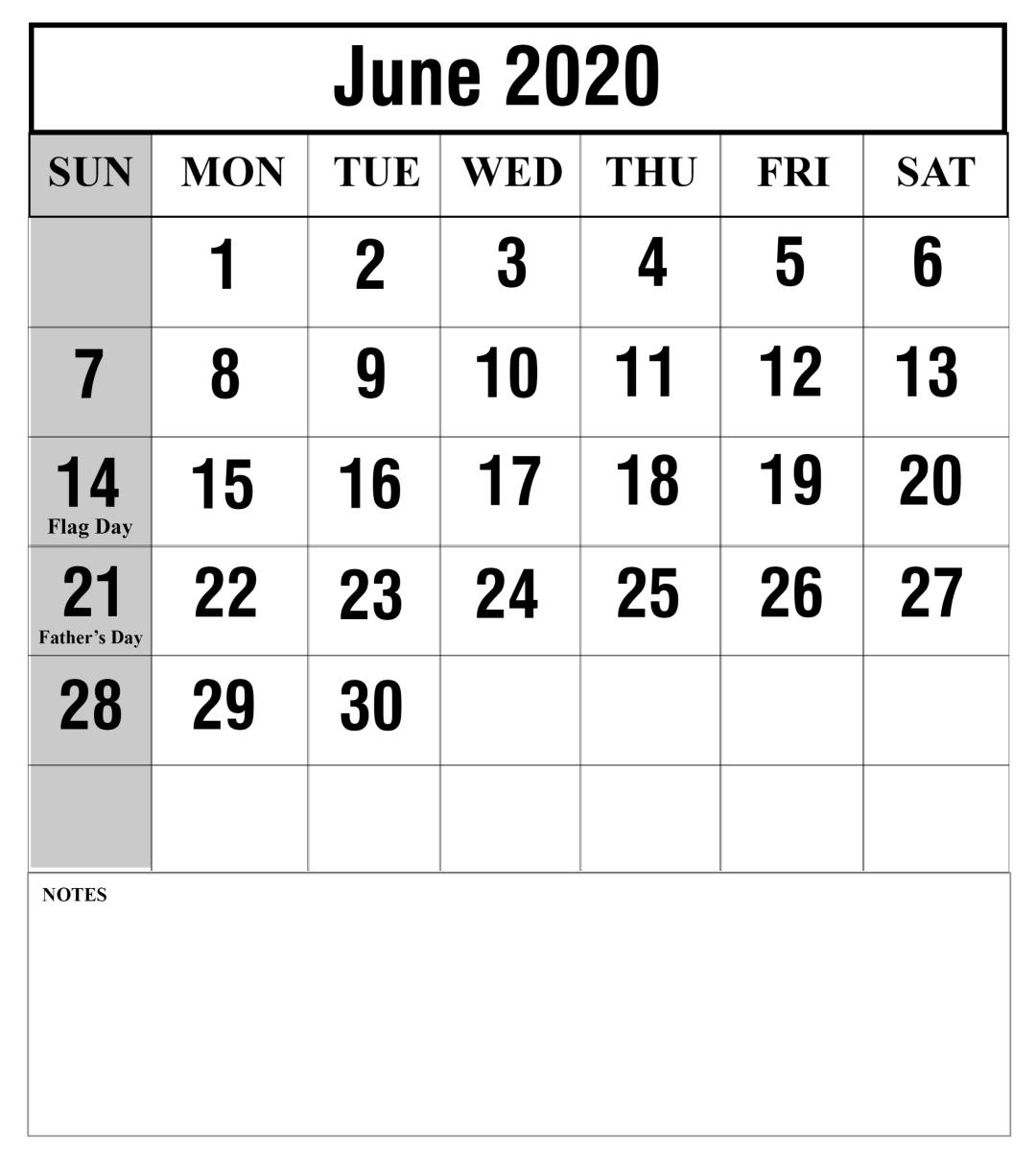 June 2020 Calendar With Holidays Printable