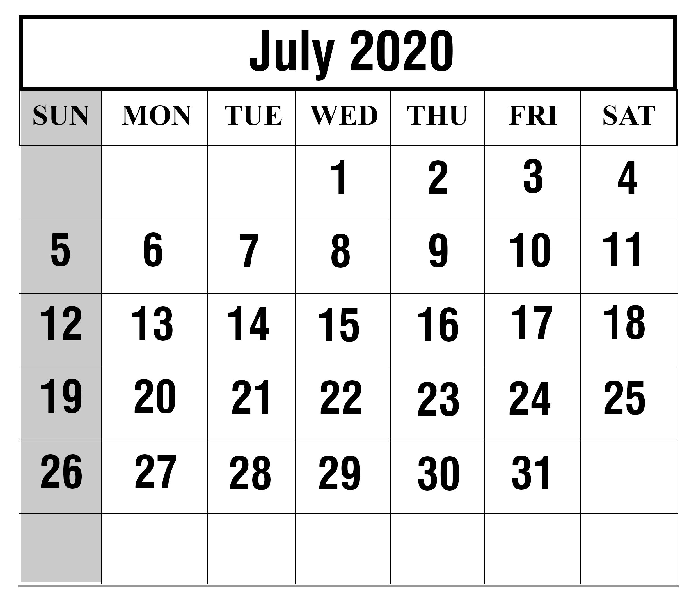 June 2020 Excel Calendar