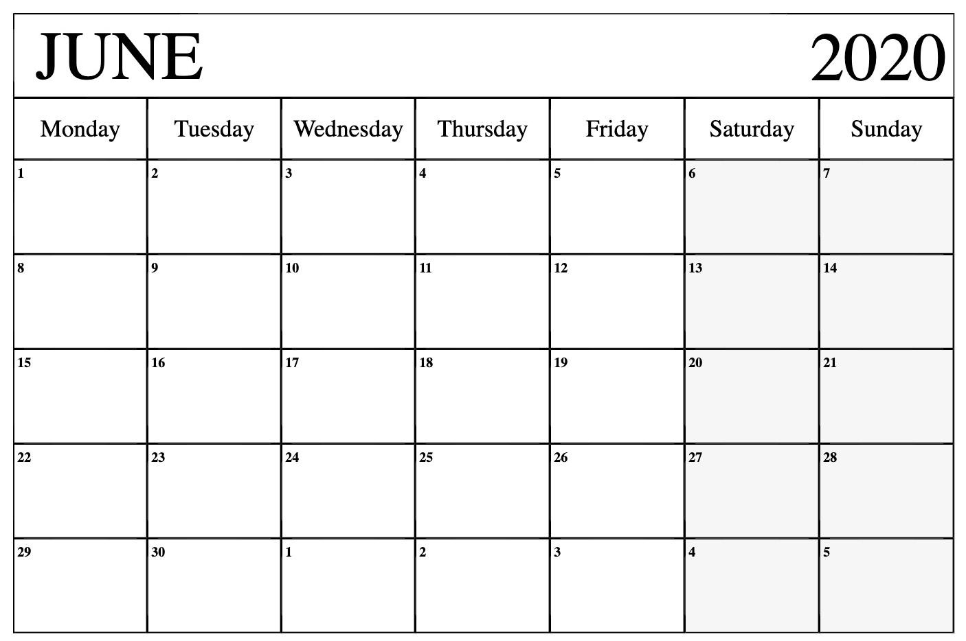 June 2020 Monthly Calendar For Kids