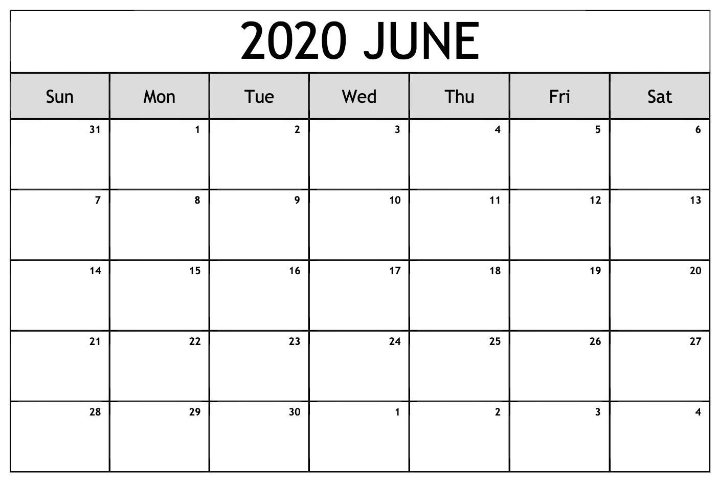 June 2020 Monthly Calendar Free