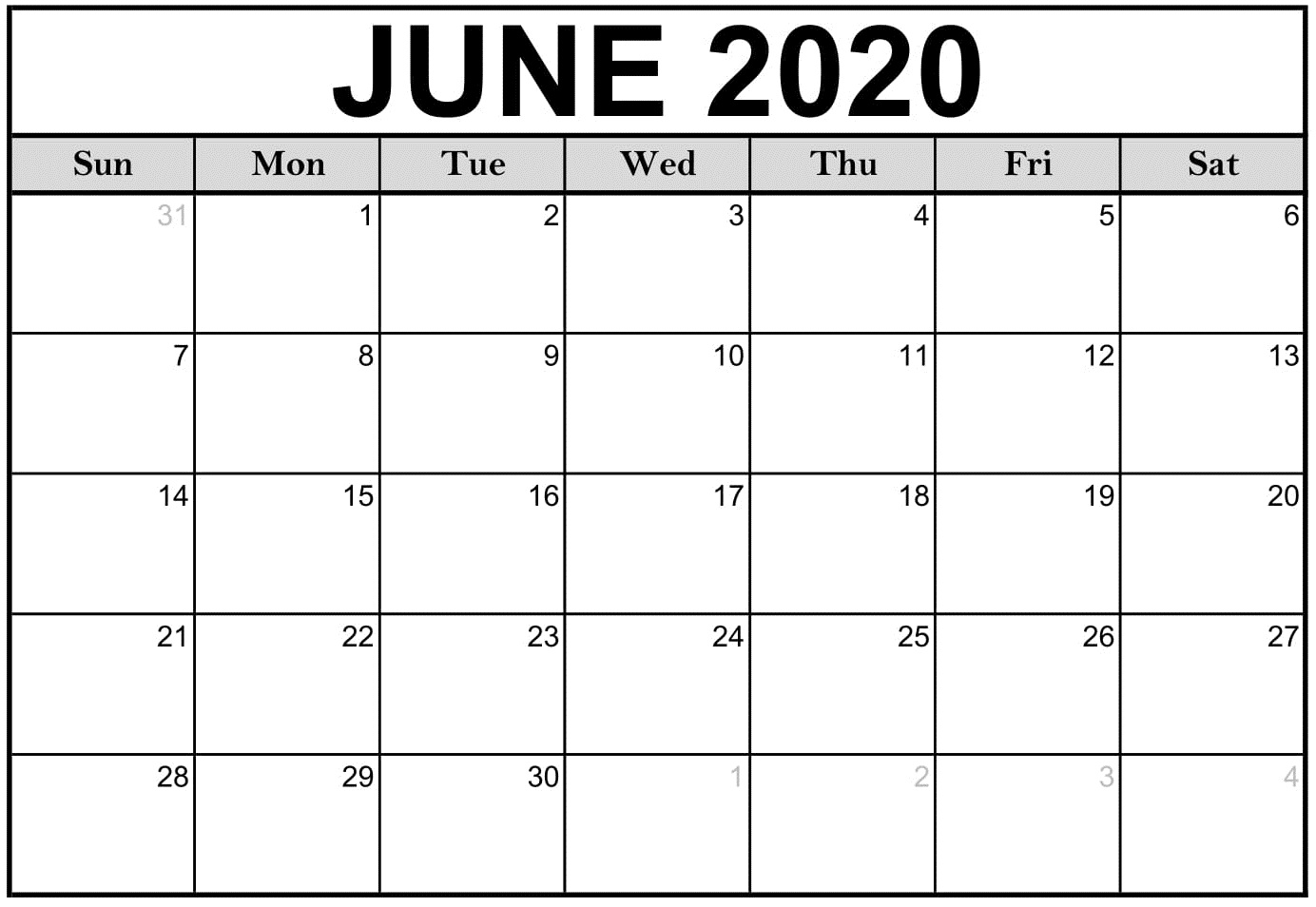 June 2020 Monthly Calendar PDF