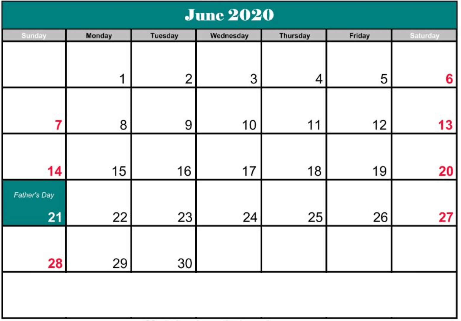 June 2020 black and white Calendar With Holidays
