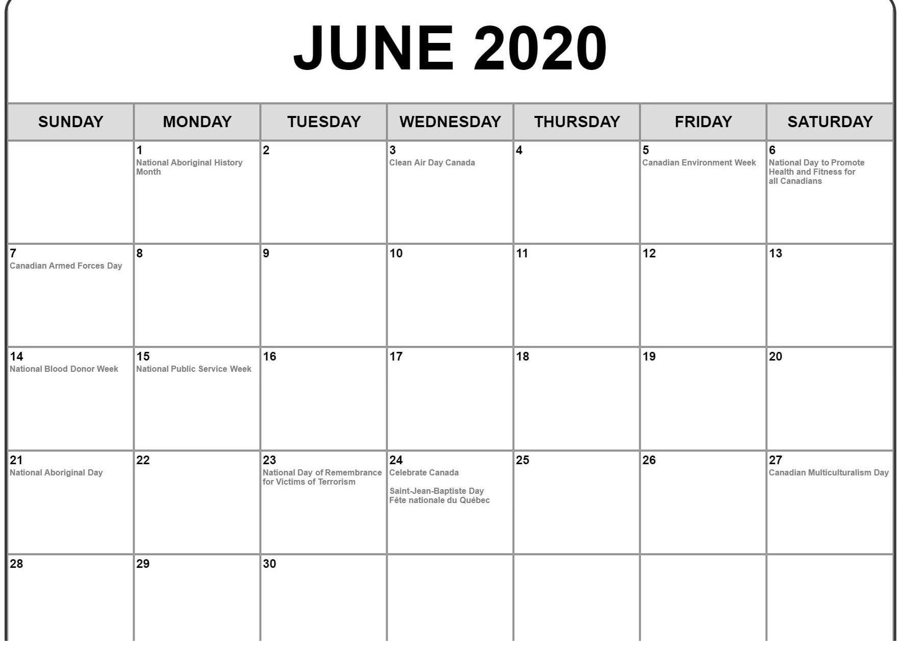 June Calendar 2020 Excel