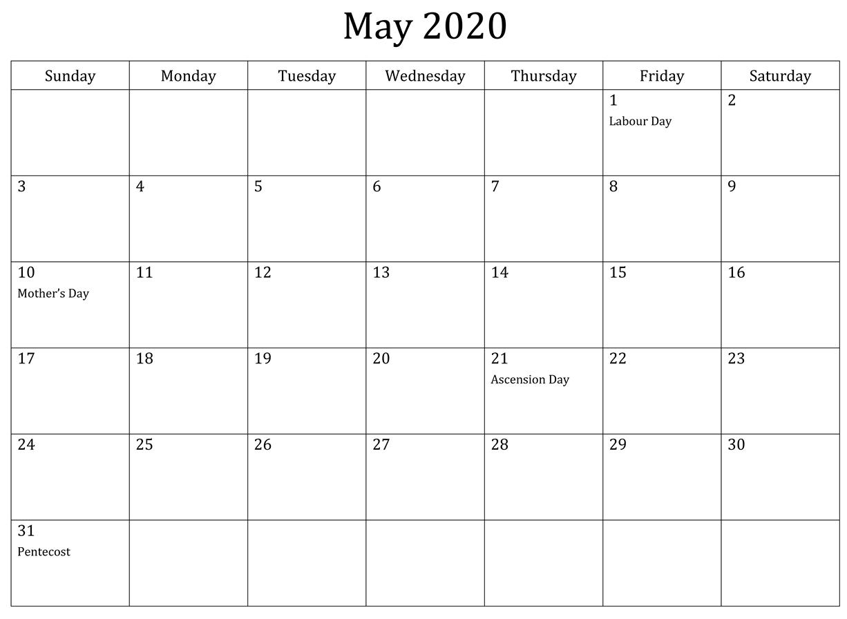 May Calendar 2020 Excel (2)