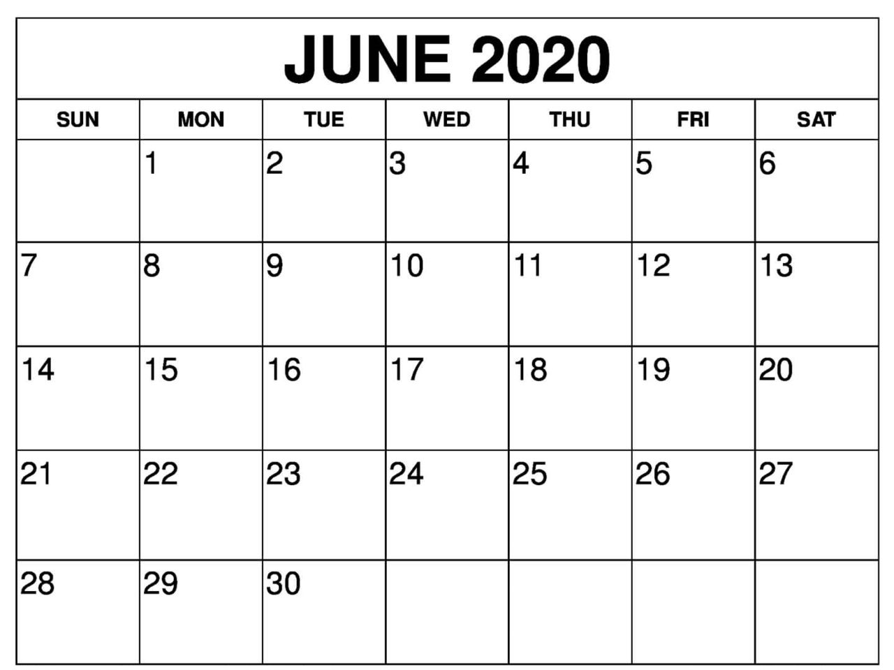 Print June 2020 Calendar Excel
