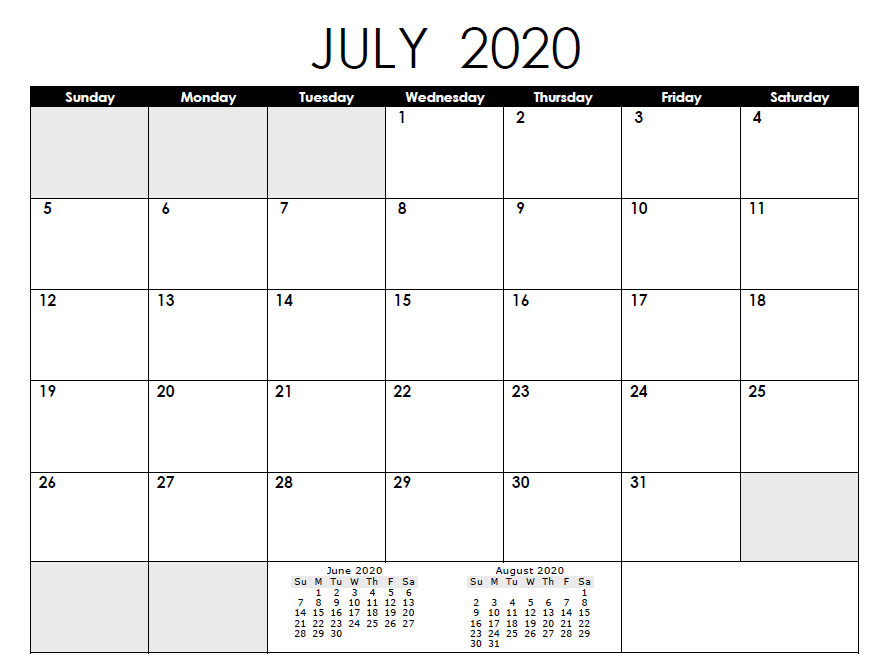 Printable June 2020 Calendar Excel