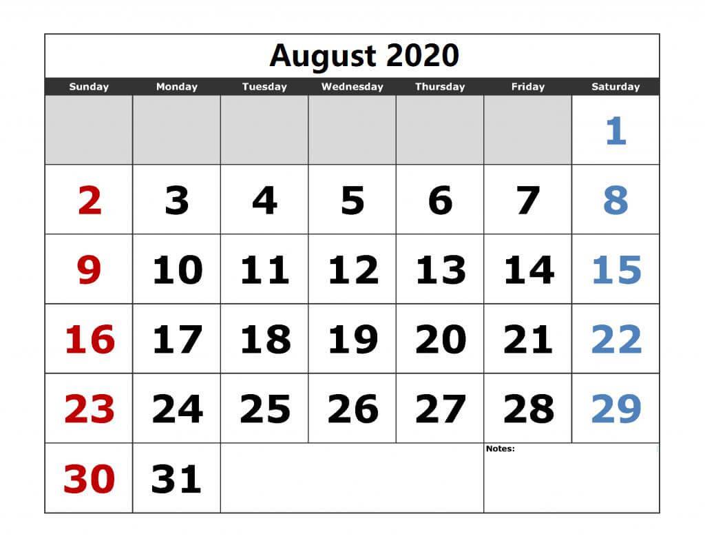 2020 August Calendar Editable