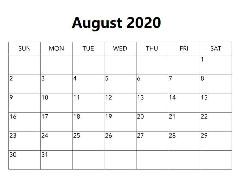 2020 August Calendar Excel