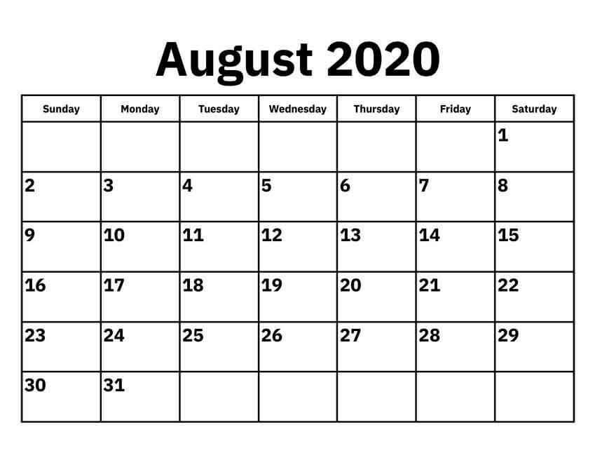 2020 August Template Calendar