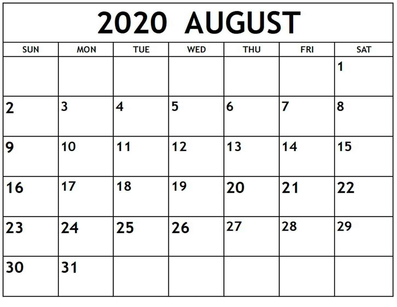 2020 Calendar August PDF