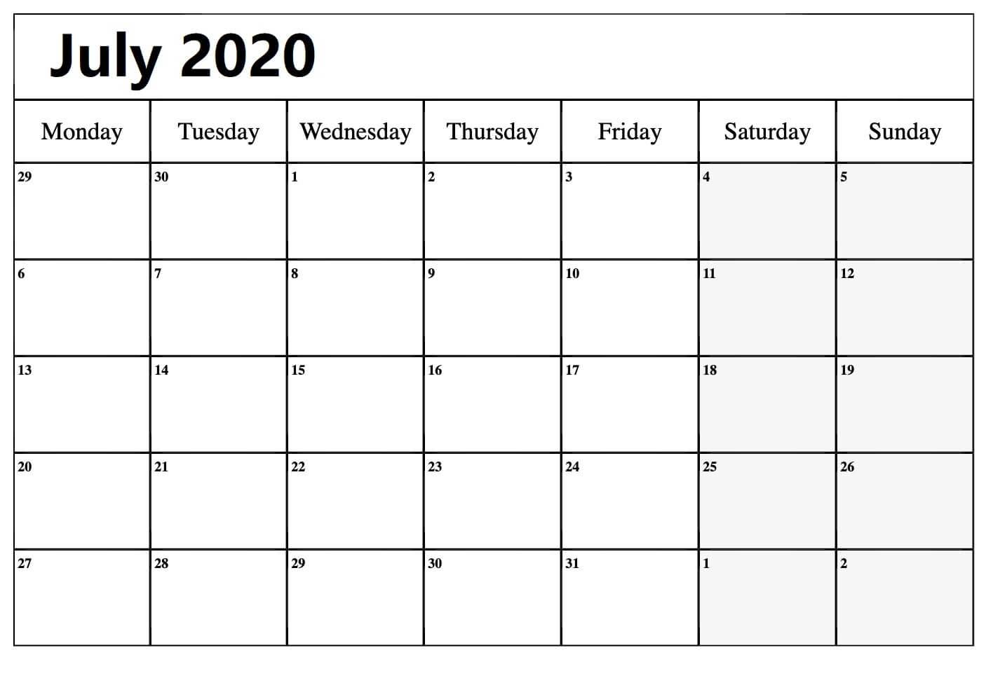 2020 July Monthly Calendar