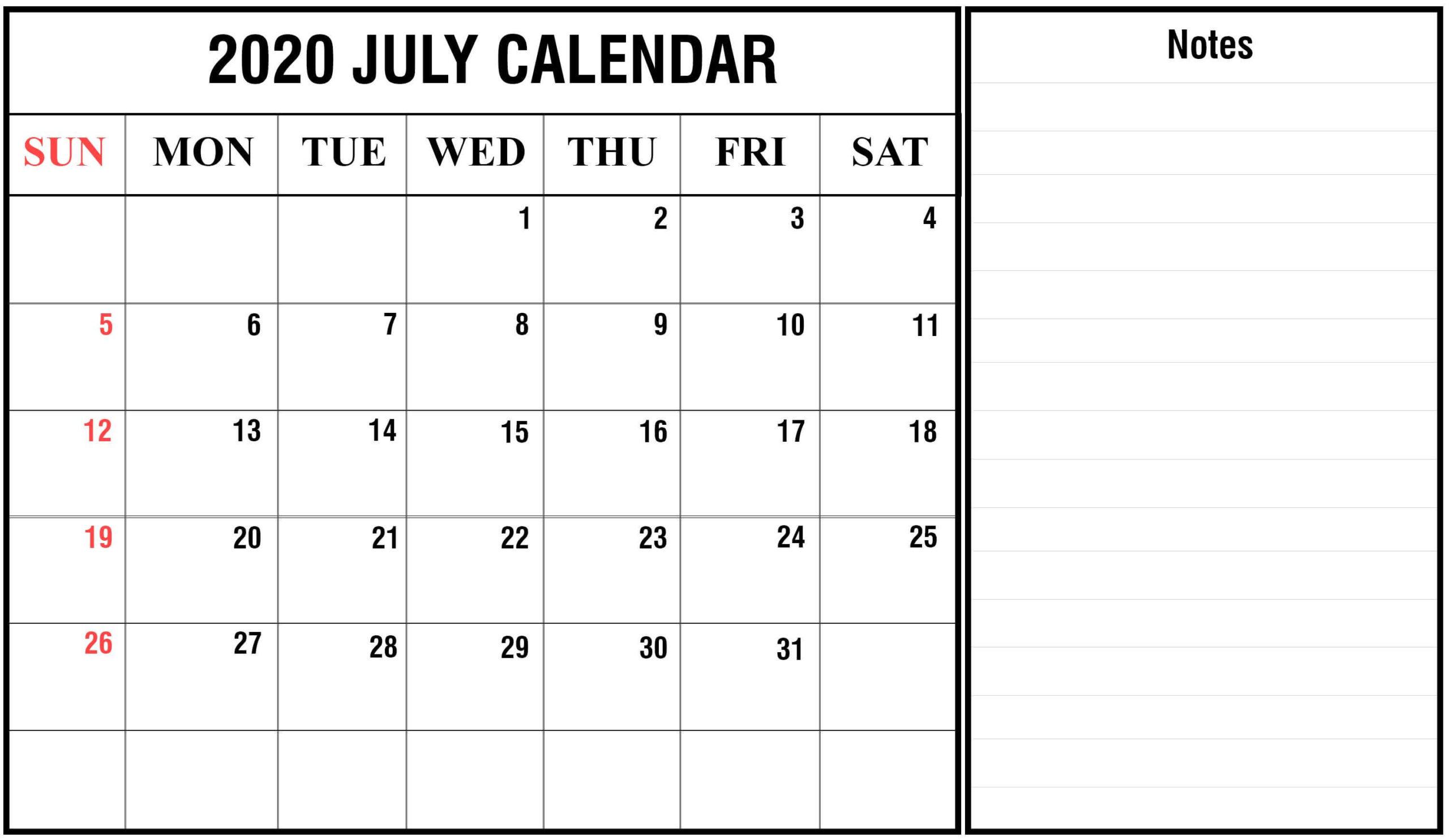 2020 July Template Calendar