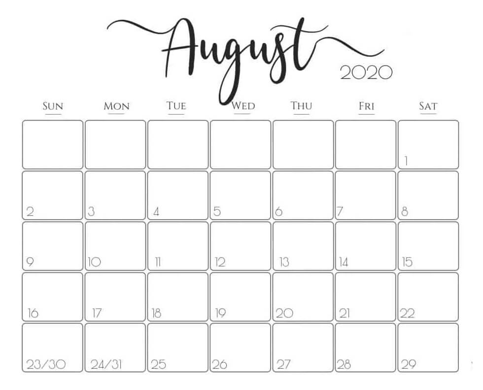 August 2020 Calendar Monthly download
