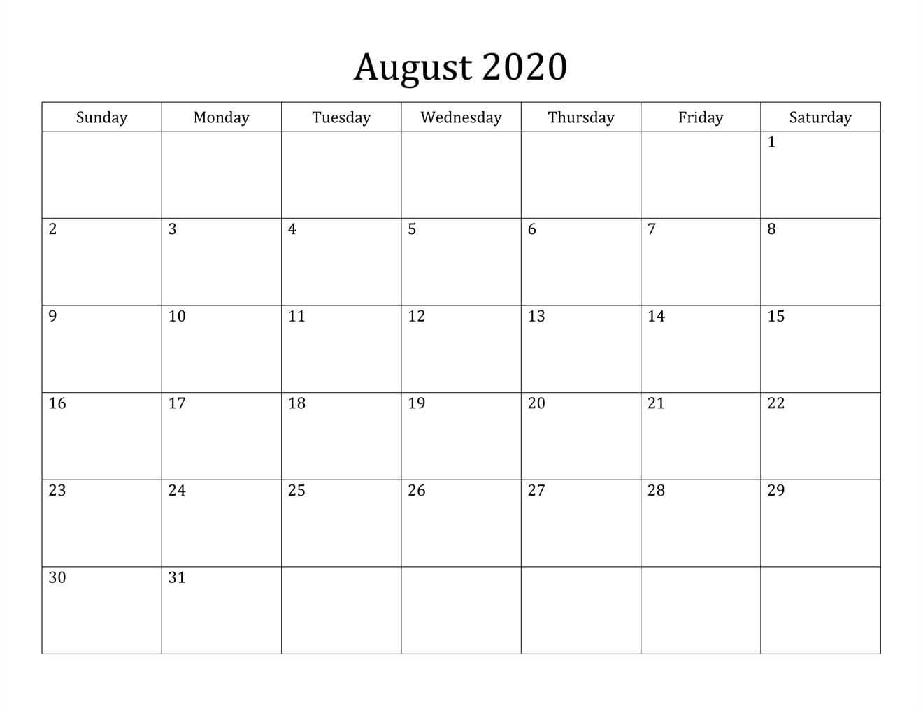 August 2020 Calendar PDF download