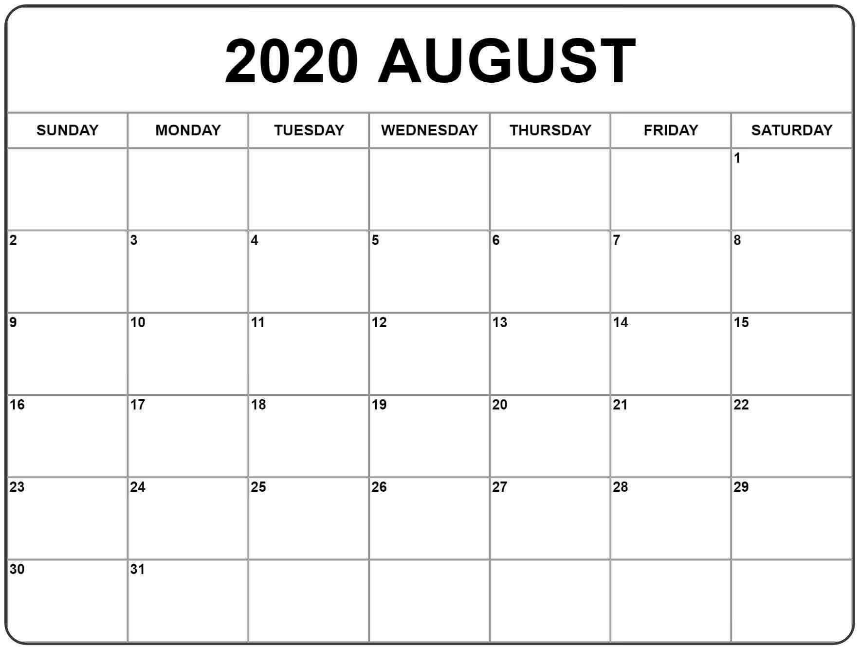 August 2020 Calendar Template For Kids