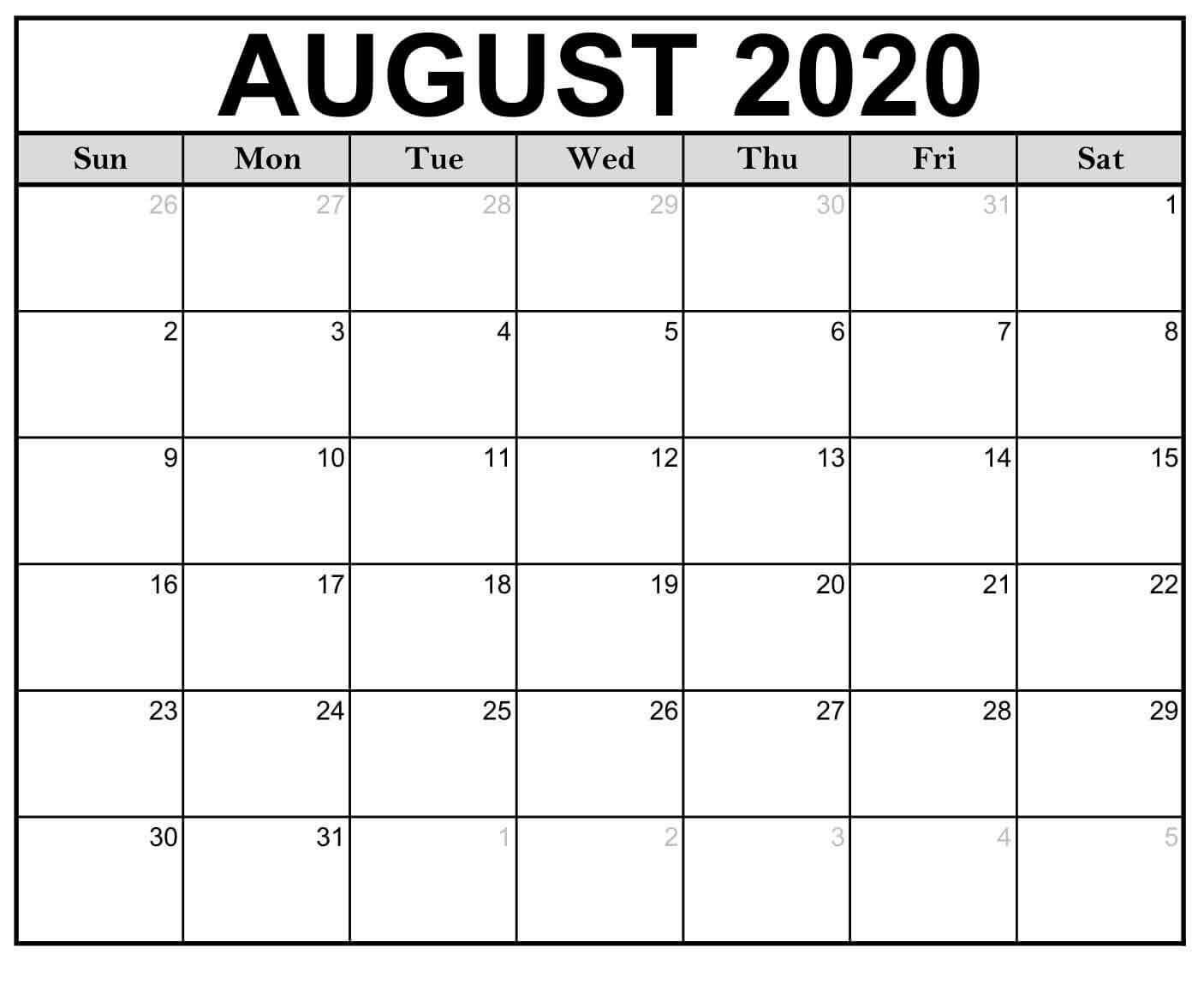 August 2020 Calendar Template Free