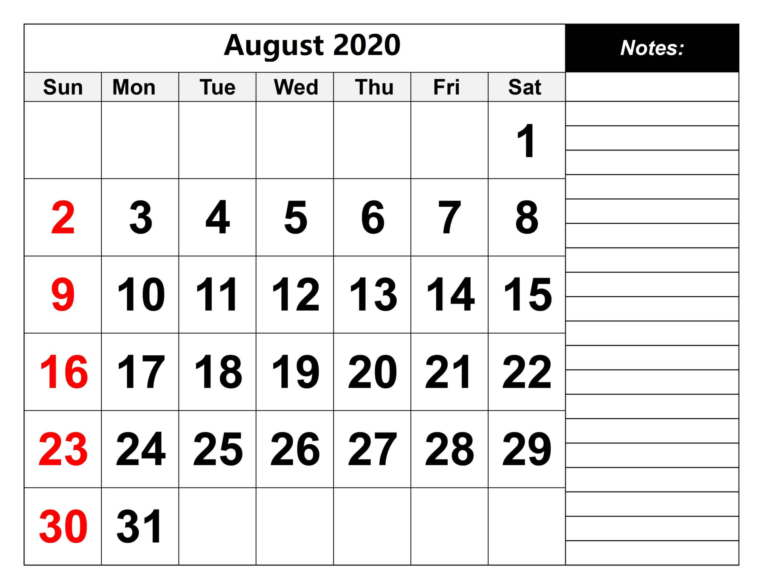 August 2020 Calendar Template With Holidays