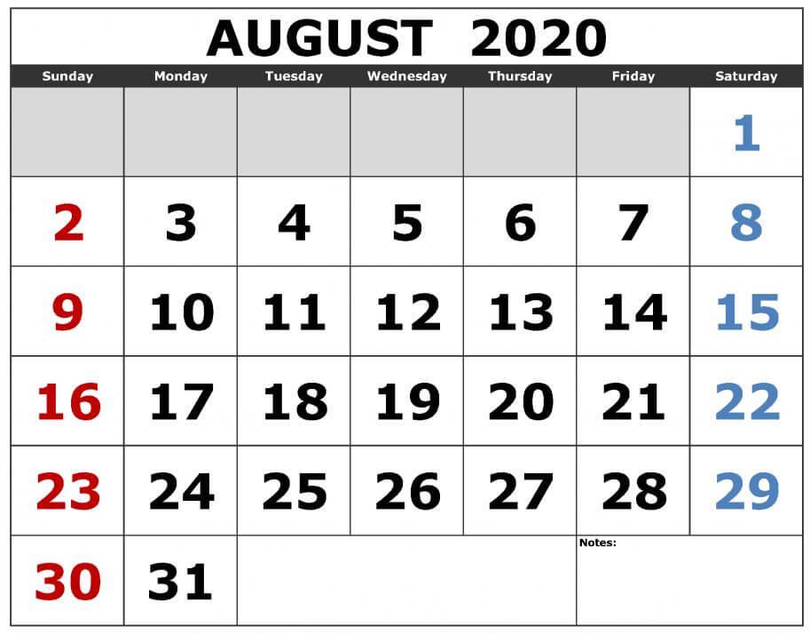 August 2020 Calendar With Holidays 1