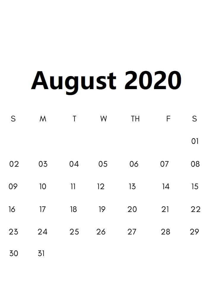 August 2020 Calendar With Holidays Sheet