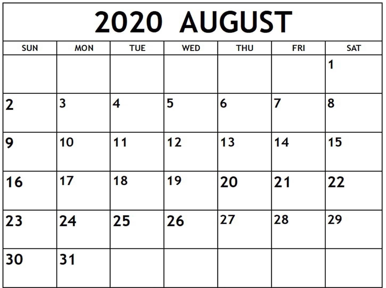 August 2020 Calendar With Holidays USA