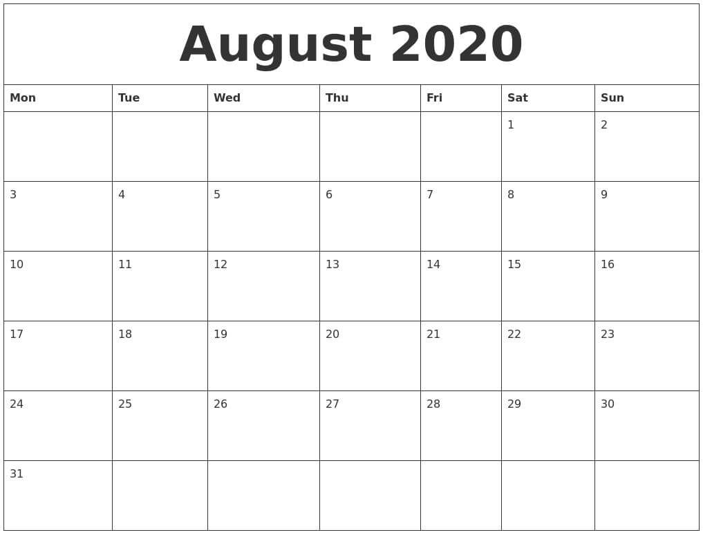 August 2020 Calendar With Holidays download