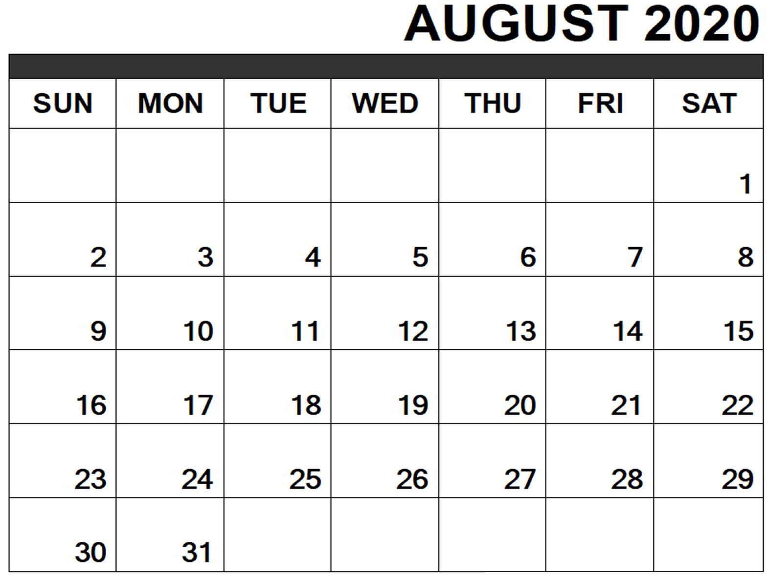 August 2020 Excel Calendar