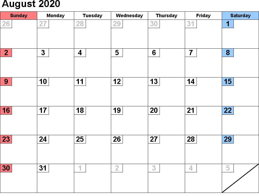 August 2020 Monthly Calendar For Kids