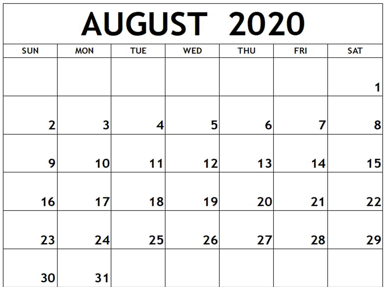 August 2020 Monthly Calendar Free