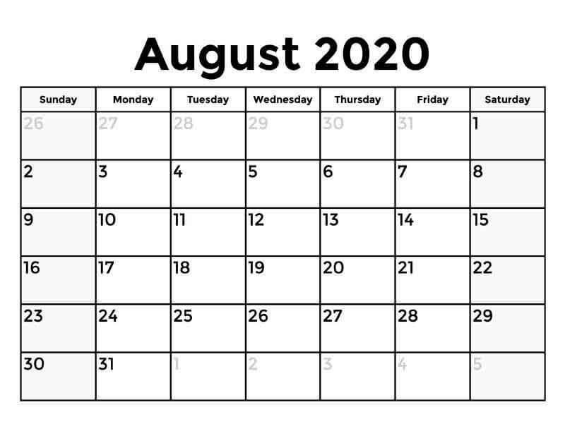 August 2020 Template Calendar