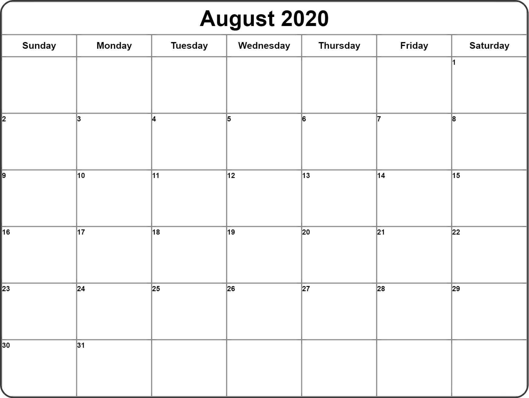 August 2020 Template download