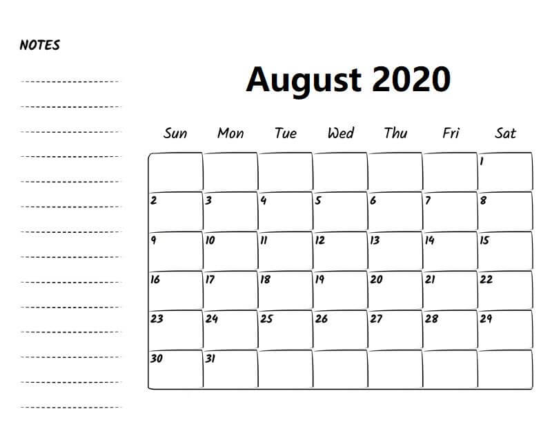 August 2020 Template