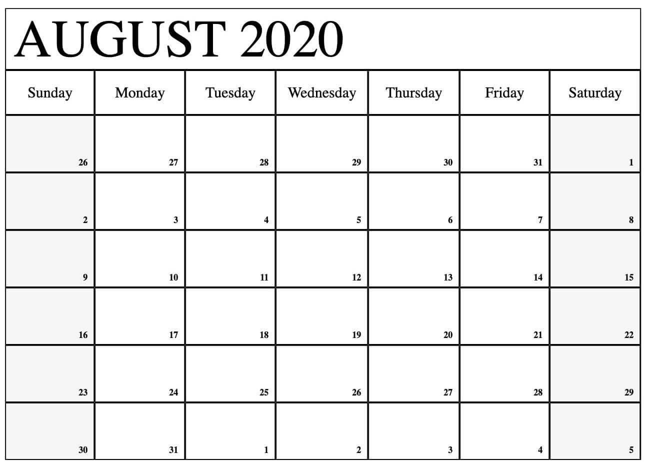 August Calendar 2020 Excel downlaod