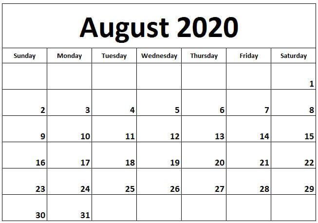 August Calendar 2020 Excel free